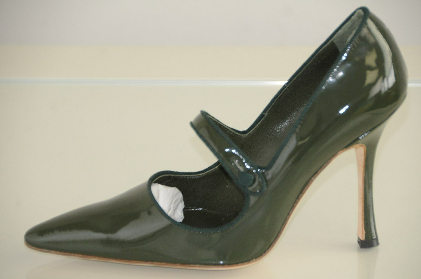 785 NEW MANOLO BLAHNIK  Campari Mary Jane Green Patent  Leather SHOES 37