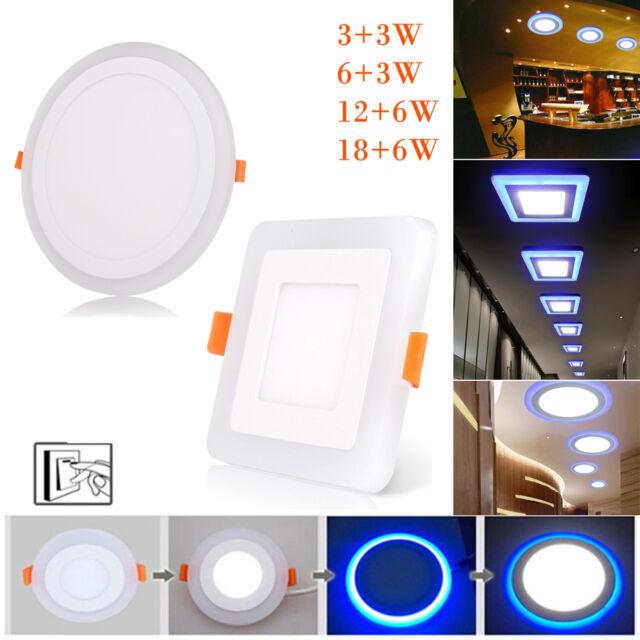 Dual Color Blanco RGB LED techo empotrable Downlight Spot lámpara Panel 24W 18W