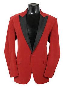 Men Red Velvet Blazer Coat Jacket Stylish Christmas Wedding Party