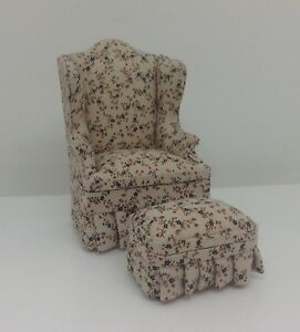 N39 Dollhouse Miniature Bespaq Chair & Ottoman In 1:12 Scale Mini Doll House