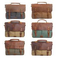 New Men's Canvas Genuine Leather Satchel Shoulder Bag Messenger Laptop Brifecase