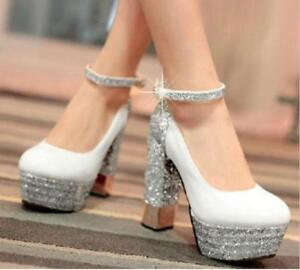 New-Fashion-Womens-Thick-High-Heels-Wedge-Bind-Leather-Hot-Single-Thicken-Shoes