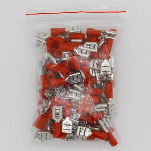 blau 0,5-2,5mm Kabelschuhe 100 Stück Flachsteckhülsen teilisoliert 6,3 mm rot