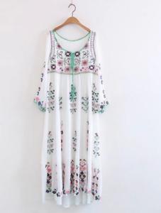 00bd61ea52f Image is loading Women-Vintage-Mexican-Floral-Embroidered-Deep-V-Neck-