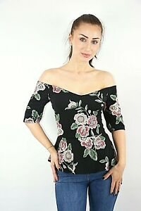 253f2b7bf0b Ex New Look Black Floral Embroidered Textured Off Shoulder Peplum ...