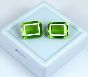 11-13 Ct Natural Emerald Cut Brazilian Peridot Loose Gemstone Pair AGI Certified