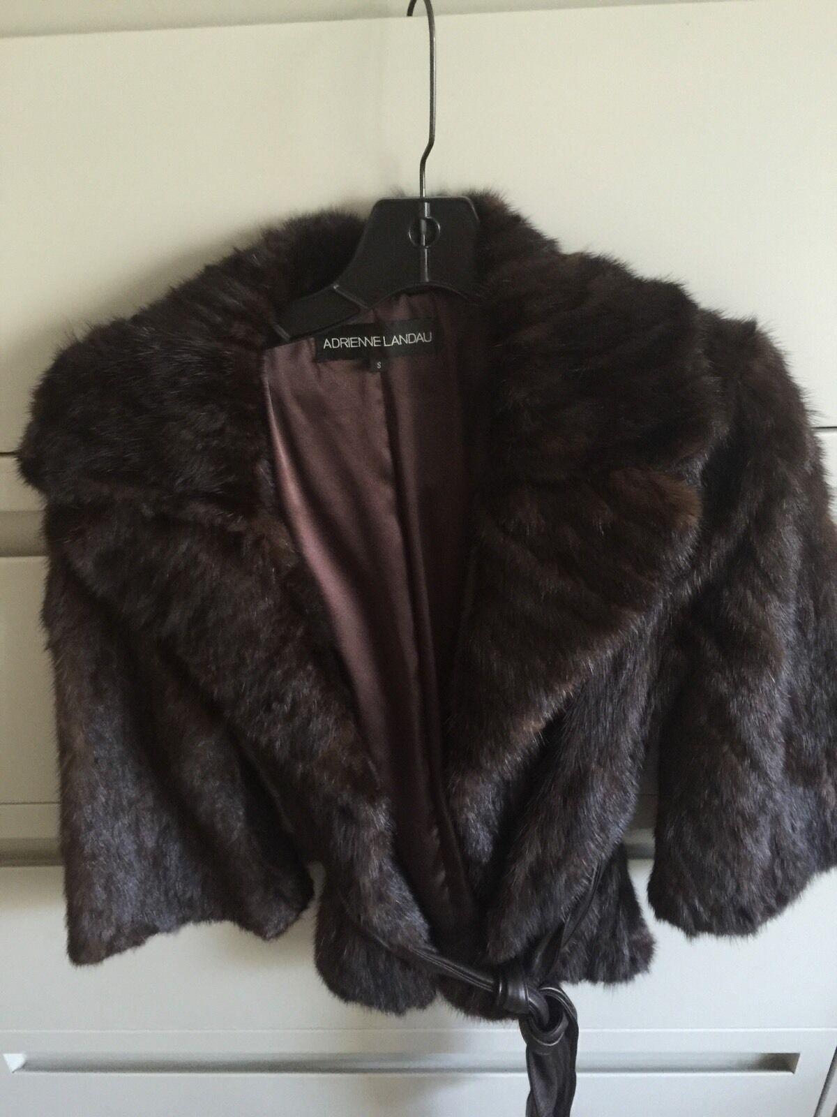 0cde00674 Coat Fur Adrienne Mink Landau Small Brown Dark Belted Leather ...