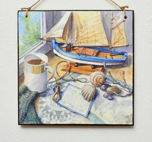 Wall Hanging plaque//Photo Ocean Nautique Bord De Mer Yacht Bateau Shell Relax