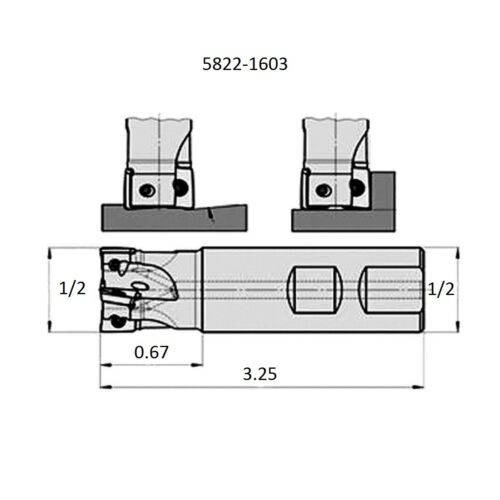 """5822-1603 1//2/"""" SQUARE SHOULDER COOLANT-THRU INDEXABLE END MILL"""