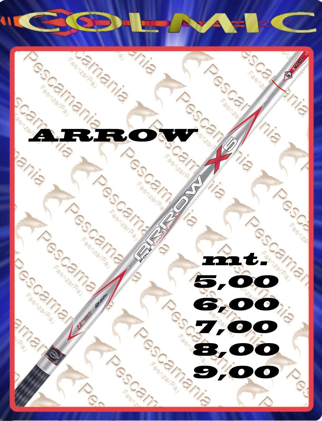 Canne Colmic Arrow Xs Fixe Mt. 5,00 -6, 00-7, 00-8, 00-9, 00 Télescopique