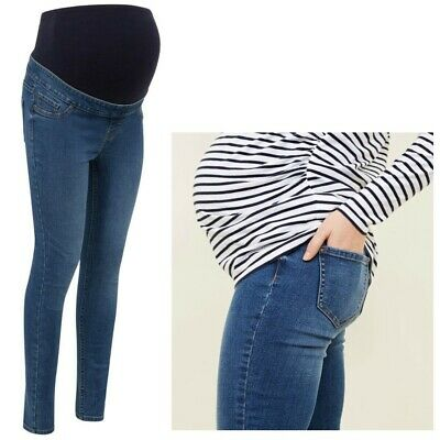 Blue Pregnancy Jeans Sizes 8-20 NEW LOOK Maternity Over Bump Skinny Jeggings