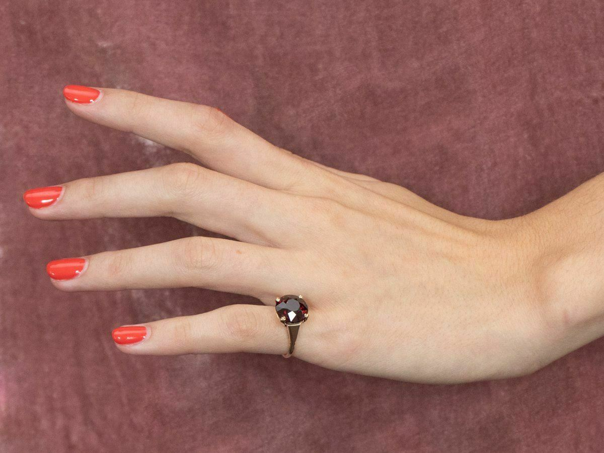 Garnet Gold Solitaire Ring - image 10