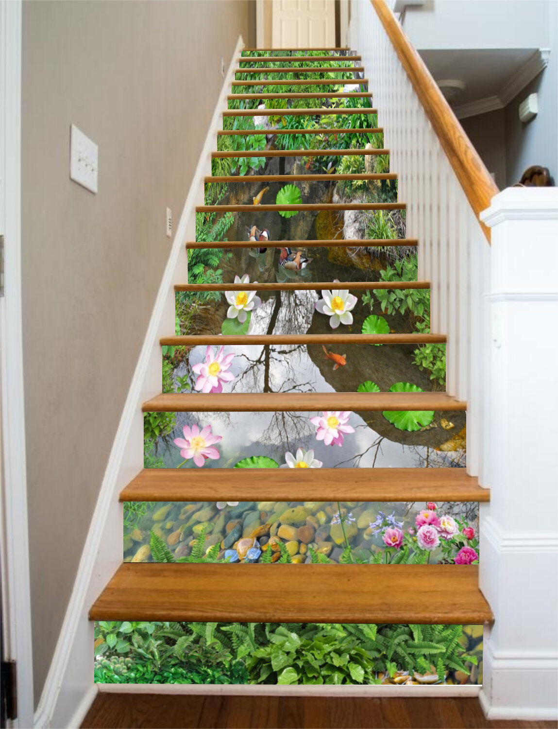 3D Pond leaf 4 Stair Risers Decoration Photo Mural Vinyl Decal Wallpaper UK