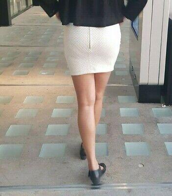Ladies Womens Front Zipper Elasticated High Waist Office Fit Bodycon Mini Skirt