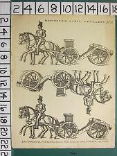 c1830 ANTIQUE PRINT ~ REDINGTON'S NEW HORSE ARTILLERY SOLIDERS HORSES