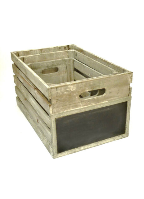 Wooden Crate Grey Wash Shabby Vintage Style Chalkboard End Storage Box 3 Sizes