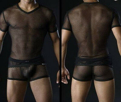 Sexy  Men Mesh Fishnet Lingerie Black/white Underwear Top T-shirts Sleeve Short