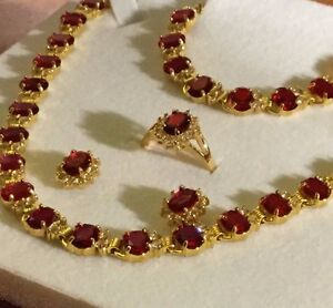 Image Is Loading Set Red Ruby Sim Diamond Gold Gf Matching