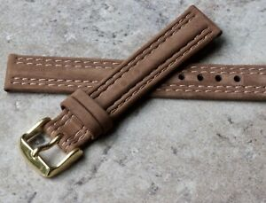 Suede-4X-stitching-18mm-Genuine-Leather-vintage-watch-strap-1960s-70s-NOS-band