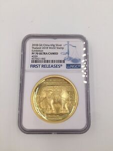 2018-Thailand-World-Stamp-expo-Gilt-Silver-Elephant-Medal-60g-NGC-PF70