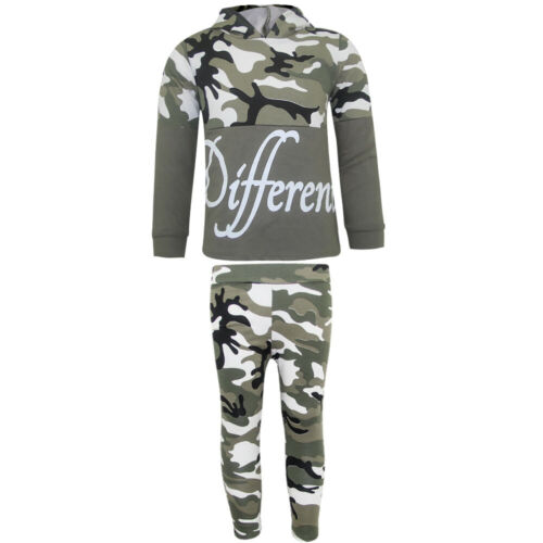 Mädchen Camouflage Freizeitanzug Jogginganzug Jogginghose Hoodie Shirt Kapuze