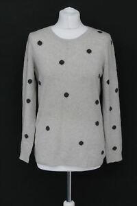 THE-WHITE-COMPANY-Ladies-Light-Grey-Polka-Dot-Wool-Blend-Stretch-Jumper-M