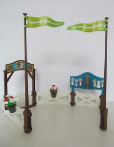 Playmobil-Farm-Stables-Horse-or-pony-paddock-fencing-rosettes-amp-flags-NEW
