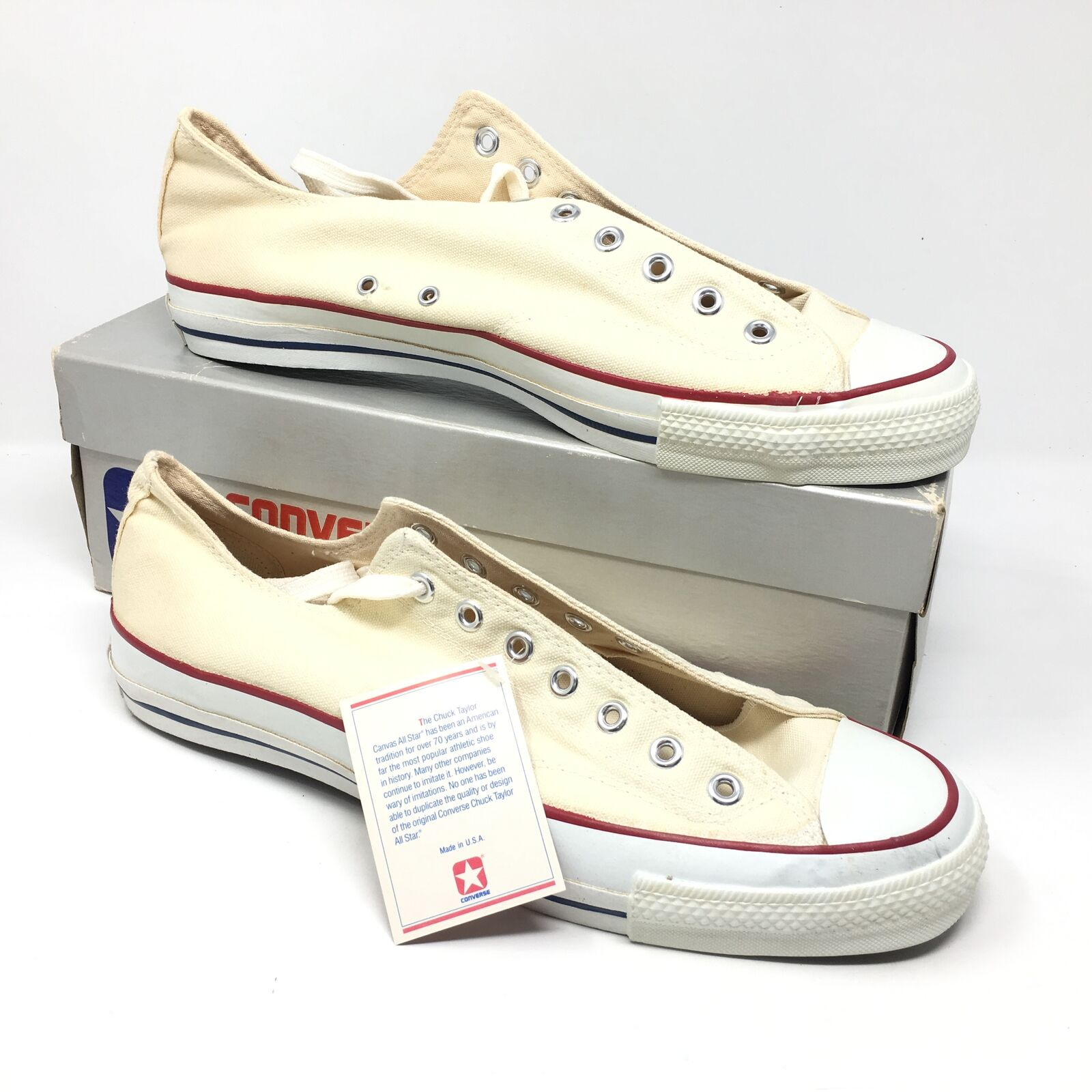 Men's NEW 1980s Converse All Star shoes Sneakers Size 14.5 White Made USA Q15