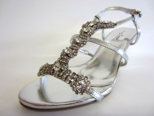 R44A J/&K Ladies Anne Michelle L3R340 Silver Strappy Shoes Sizes 5 to 7