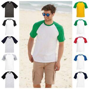 Da-Uomo-Raglan-Manica-Corta-Baseball-T-shirt-Girocollo-Casual-Cotone-Tee-Jersey-T-Shirt