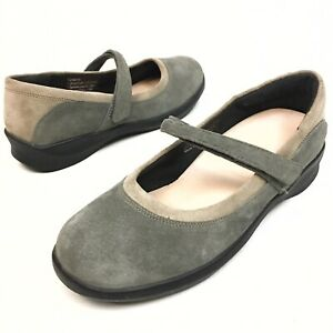 AETREX-Women-s-Gray-Suede-Mary-Jane-s-Wedge-Orthopedic-Comfort-Shoes-Sz-9-Eu41
