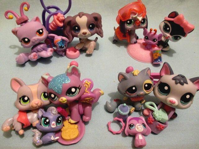 Authentic Hasbro Littlest Pet Shop LPS Lot C ~ 5 Pets Plus Accessories Play Set