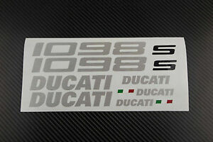 DUCATI-1098-1098s-fairing-tank-stickers-decals-S-brushed-aluminum-oem-size