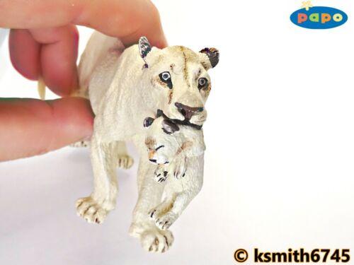 NEUF * Papo WHITE LION /& Cub solide Jouet en plastique Wild Zoo Animal Lionne chat