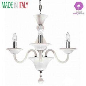 lampadario classico vetro soffiato murano 3 luci bianco camera da ...