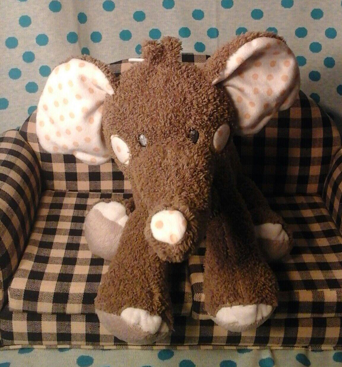 Hugfun International elefant Plush bebis grå vit polka prickar gul leksak