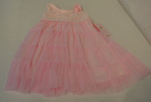 Jona Michelle Girls Party Dress-SLEEVELESS PINK TULLE WITH WHITE LACE TOP-3T-NWT