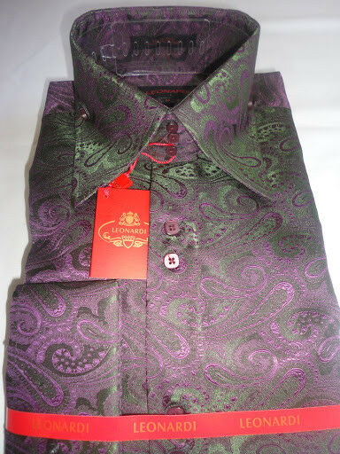 Mens Leonardi Green Purple Mystery Paisley High Collar French Cuff Shirt # 008