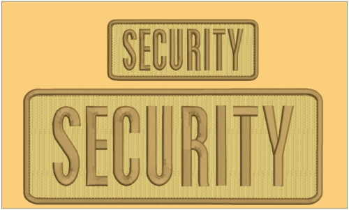 Security embroidery patch 4X10 and 2x5 hook Tan