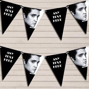 Noir-amp-Blanc-Elvis-Presley-anniversaire-Bunting-Garland-Party-Banner