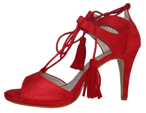 Sandali donna scarpa alta sandalo tacco tipo camoscio sandalo lacci intrecciati