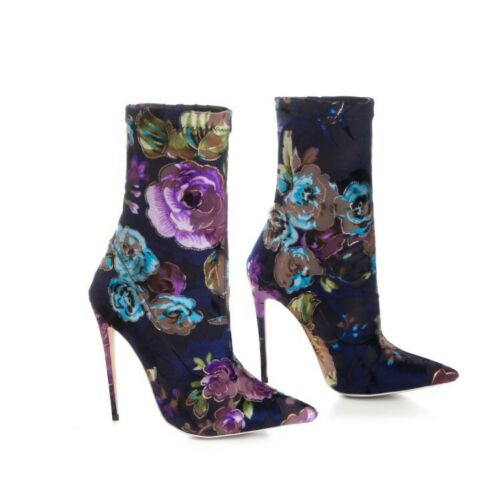 Details about  /Sexy Women Floral Ethnic Pattern Pointed Toe 12cm Heel Nightclub Ankle Boots New