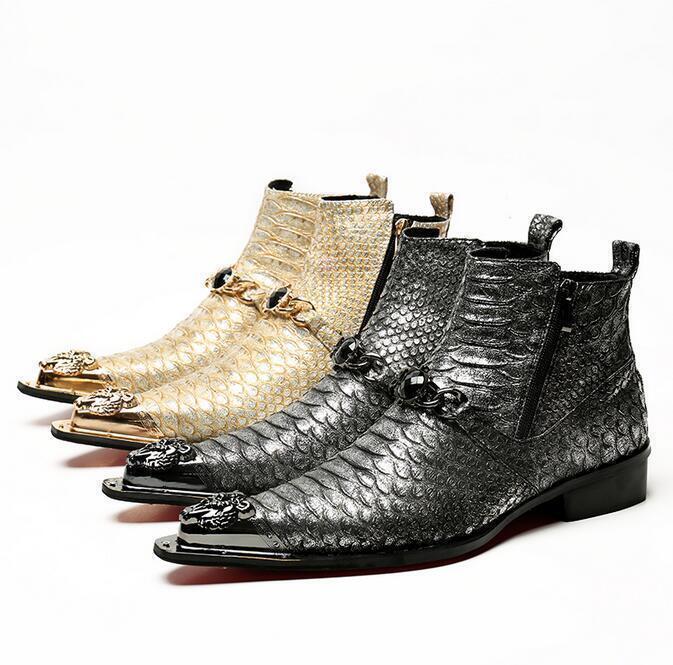 Nuevo Para hombres Metal Pointy Toe Oxford Cuero Botín Zapato de extremo de ala moda británica