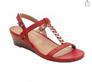 Vionic Women Cali T Strap Leather Gold Hardware Wedge Sandals RED Sz 6.5M NIB