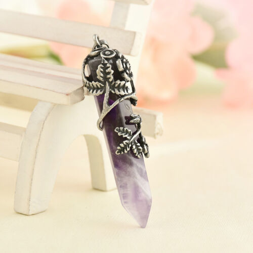 Quartz Hexagonal Gemstone Crystal Healing Point Pendant Fit Necklace Gift
