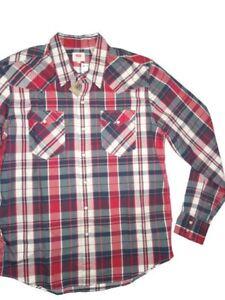 Levi-039-s-Levi-men-039-s-long-sleeve-snap-front-red-navy-white-plaid-Shirt-size-XXL