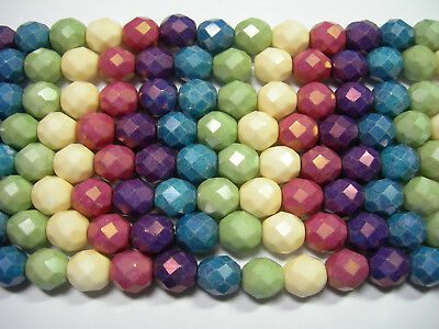 25 5mm Rainbow Picasso Opaque Luster Fire Polish Czech Glass Beads