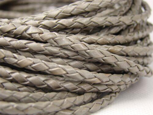 Lederband Länge: wählbar Lederschnur ab 1,6€//m Geflochten 3 mm Grau