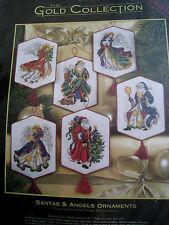 Christmas Holiday Dimensions GOLD Counted Cross Ornament Kit,SANTAS ANGELS,8568
