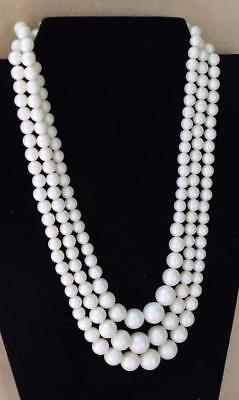"""Nett Vintage 60er Jahre Gestempelt Japan 3 Bänder Kunstperlen Perlen 21 """" Halskette"""